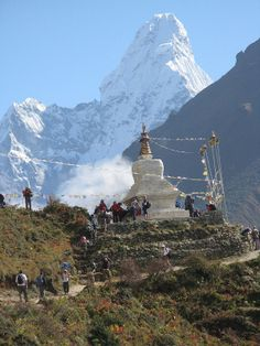 trekking to Everest Base Camp,good  view of Mt. Ama Dablam with Buddhist Stupa.