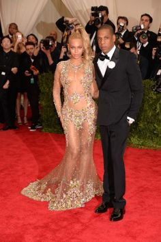 Beyoncé and Jay Z at the Met Gala 2015. Click on the image to see more looks.