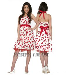 95e7c3475f Big Cherry White Red Halter Dress - Modern Grease Clothing and Accessories  Co. $49.99 Grease