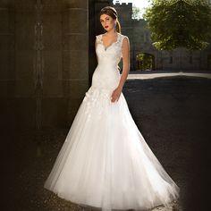 >> Click to Buy << New Mermaid Soft Tulle White Wedding Dresses V Neck Cap Sleeves See Through Back Wedding Bridal Gowns Vestido De Noiva #Affiliate