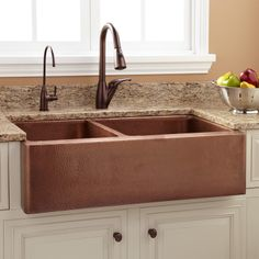 """33"""" Tegan Hammered Offset Double-Well Copper Farmhouse Sink"""
