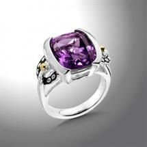 Sterling Silver and 18K Gold Amethyst Ring