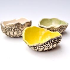 dipping sauce bowl ceramic bowls set of 3 hand built by MarciG