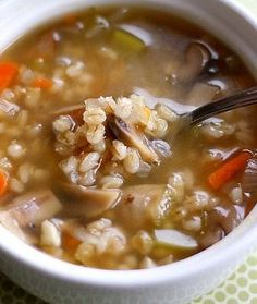 Mushroom Barley Soup Recipe on twopeasandtheirpod.com Love this easy and healthy soup!