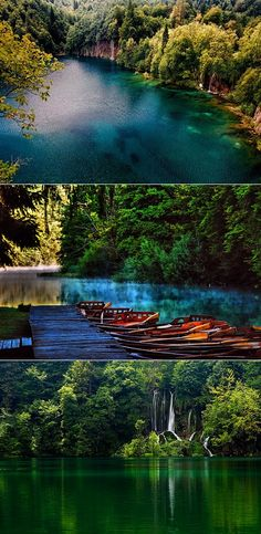The beautiful Plitvice Lakes in Croatia.  Perfect for your Europe travel.