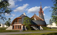 Reformed church project page, building & design pages Budapest, Sacred Architecture, Home Studio, Mosque, Building Design, Home Projects, Cabin, Mansions, House Styles