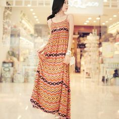 Elegant stripe suspender maxi dress! - US$ 18.76
