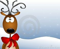 A clip art illustration featuring a reindeer wearing a red Santa hat, a sprig of holly, standing in the snow. Description from dreamstime.com. I searched for this on bing.com/images