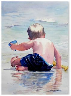 """Little Boy on Wet Beach"" - Art - by Sue Lynn Cotton Watercolor Portraits, Watercolour Painting, Painting & Drawing, Watercolours, Beach Watercolor, Watercolor Trees, Watercolor Pencils, Watercolor Landscape, Painting People"