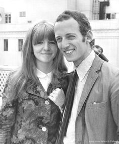 """July 5, 1965 - Jane Asher with the Associate Producer of """"Alfie"""", John Gilbert, on a roof top in London where the cast were posing for pre-production publicity photo shoot."""