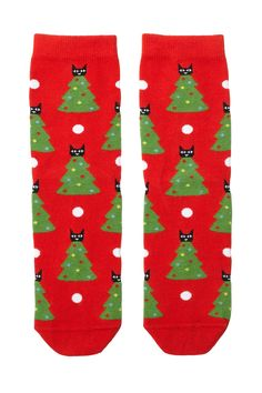 The little elf told the kitty to get down, but she wouldn't so she ended up on these socks - but we think it's pretty cute! Holiday snug, cotton mix socks.  colour: print perfection