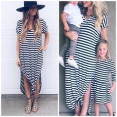 RESTOCKED Stripe Oversize Pocket Maxi Dress S M L Available in 6 colors now!!  Black, Mint, Ivory, Mocha, Black/White Stripe, and Gray/White Stripe!!  So beautiful!  Black and White Stripe side slit maxi dress, pockets, very loose oversize fit, can fit up to a size 16, consider sizing down if you don't prefer an oversized loose fit.  Available in size Small,  Medium, or Large. RESTOCK ARRIVING MONDAY/SHIPPING TUESDAY!  No Trades, Price Firm unless Bundled.  BUNDLE 3 OR MORE ITEMS FOR 15 %…