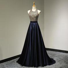 Halter Neck Luxury Beading Prom dress Top Navy