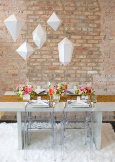 Geometric shapes for a modern bash! See more stylish ideas: http://thebridaldetective.com/trends-we-love-hanging-wedding-decor