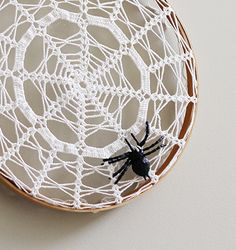Halloween wall hanging, doily in embroidery hoop