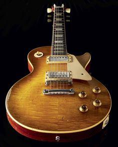 "Bernie Marsden's 1959 Gibson Les Paul Standard - ""The Beast"" Les Paul Custom, Les Paul Standard, Acoustic Bass Guitar, Ukulele, Bass Guitars, Eric Clapton, 1959 Gibson Les Paul, Famous Guitars, Guitar Photos"