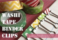 Easy to make washi tape binder clips. Perfect for the person addicted to office supplies or your favorite teacher! Washi Tape, Duct Tape, Masking Tape, Binder Clips, Tapas, Tape Crafts, Fun Crafts, Decorative Tape, Day Planners