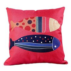 MC Fashion Cute Fish Red Cotton Linen Decorative Pillow Cover Throw Pillow Cover Cushion Cover 18x 18 Red Fish -- Read more reviews of the product by visiting the link on the image. Decorative Pillow Covers, Throw Pillow Covers, Throw Pillows, Christmas Pillow Covers, Cute Fish, Red Fish, Room Accessories, Cotton Linen, Cushions