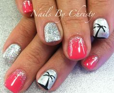 Pretty Pink With Silver Sparkle and Palm Tree Shellac Nails Christy @ ManeTamers Mishawaka