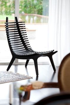 Chair -very cool looking but is it comfortable? Worried my backside will look like it's been beaten with a lacrosse stick.Slatted Chair -very cool looking but is it comfortable? Worried my backside will look like it's been beaten with a lacrosse stick. Classic Furniture, Unique Furniture, Furniture Design, Inexpensive Furniture, Cheap Furniture, Rustic Furniture, Plywood Furniture, Furniture Plans, Furniture Stores