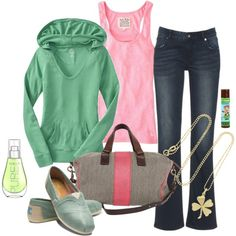 Relaxed spring break lounge outfit with lucky clover charm.