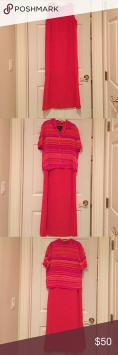 100% silk dress with removable coverup 100% silk lined dress. Removable shirt for coverup. Size 12. Coral, pink, red, fuchsia . positive attitude  Dresses Maxi