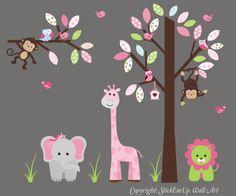 Nursery Wall Decal Tree with Giraffe Elephant by StickEmUpWallArt, $184.95