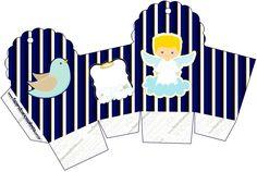 Caixa Cupcake Batizado Azul Marinho Anjinho Loiro