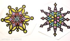 "Winter Kids Craft: Glittery ""Stained Glass"" Snowflakes - Happiness is Homemade"