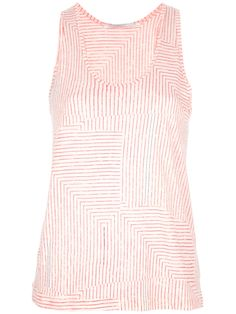 Nude cotton vest top from Proenza Schouler featuring a scoop neck, a contrasting orange stylised stripe print and a racer back.
