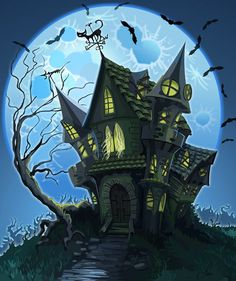 With Halloween just around the corner, October is the month for all things spooky. In this month's Psdtuts+ Design Challenge, we want you to show us your best interpretations of a spooky haunted. Deco Porte Halloween, Casa Halloween, Halloween Haunted Houses, Vintage Halloween, Haunted House Drawing, Haunted House Tattoo, Halloween Wallpaper Iphone, Halloween Backgrounds, Halloween Clipart