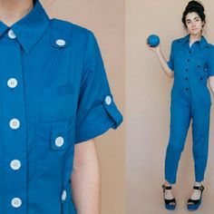 ⚡SALE ⚡ Family Affairs Swan Lake Jumpsuit NWT Sale! Size m. vintage 40s inspired blue soft voile cotton overall jumpsuit. White buttons.  USA made. Cruelty free.  Mechanic comfort jumpsuit with pockets. Light semi sheer fabric. NWT. With DEFECT.  Retail $260. I got it for a deal due to some sun bleaching most at the arm seam (last pic). Sold as is. But it's a worker suit a little wear n tear works?! Soooo cute but it doesn't fit me right. Roomy, soft & so comfortable. Reminds me of…
