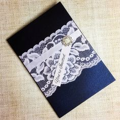 Navy & White Vintage Lace Wedding Invitation and RSVP