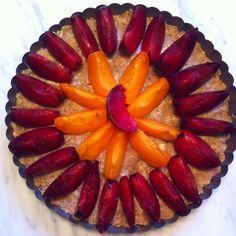 vegan apricot and plum tart before crumb topping/baking  - adapted from ina garten's plum tart recipe