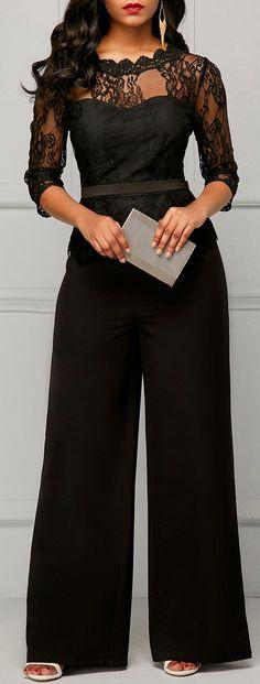 Peplum Waist Scalloped Neckline Lace Panel Black Jumpsuit。