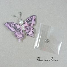 Papillon soie bouton pression rose 5 cm Creations, Stud Earrings, Support, Dimensions, Passion, Jewelry, Pink Silk, Playing Card, Papillons