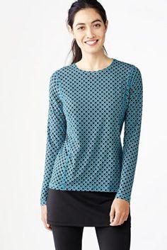 Women's Activewear Long Sleeve T-shirt - Print from Lands' End
