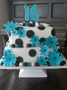 Turquoise White and Black Sweet Sixteen Birthday Cake. Thinking my niece may like a cake like this one. She loves blue and I think I can make this no problem! Very cute
