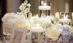 floating candles with white flowers
