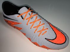 SR4U Reflective Orange Soccer Laces on Nike Hypervenom Phinish