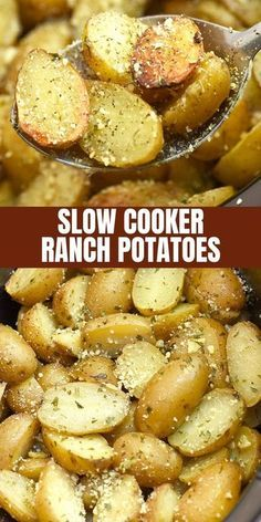 Slow Cooker Ranch Potatoes are hearty, tasty, and so easy to make in the crockpo. Slow Cooker Ranch Potatoes are hearty, tasty, and so easy to make in the crockpot. They're the perfect side dish for weeknight dinners or holiday parties. Potato Recipes Crockpot, Crockpot Side Dishes, Side Dish Recipes, Easy Dinner Recipes, Easy Meals, Party Crockpot Recipes, Dinner Crockpot, Crockpot Ideas, Easy Weeknight Dinners