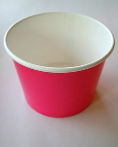 Lined Paper Ice Cream Cups or Bowls in Hot Pink