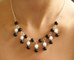 black and white beaded necklace silver chain by nikajewellerybox