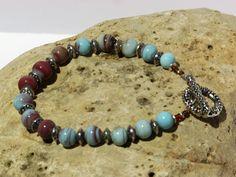 OOAK BLUE & BROWN Handmade  Bracelet by blingo10 on Etsy