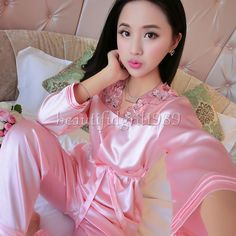 Womens Silk Satin Pajamas Set Sleepwear Robes Nightdress Nightgown P195  L 76f9c850e96b