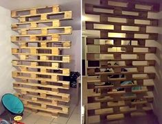 Cinco divisórias com pallets pra inspirar Pallet Home Decor, Diy Pallet Projects, Diy Home Decor, Pallet Furniture Designs, Diy Furniture, Christmas Towels, Wall Decor Design, Wood Pallets, Pallet Partition
