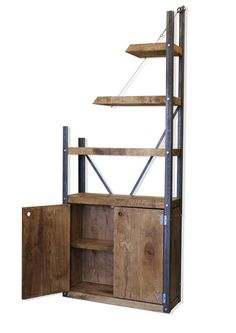 De-constructed Oak/Steel Industrial Cupboard Bookcase Bespoke