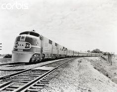1938-Santa Fe Super Chief train. Near Lemont, IL.