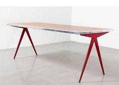 années cinquante, mobilier,red-compas-table, jean prouvé, 1953