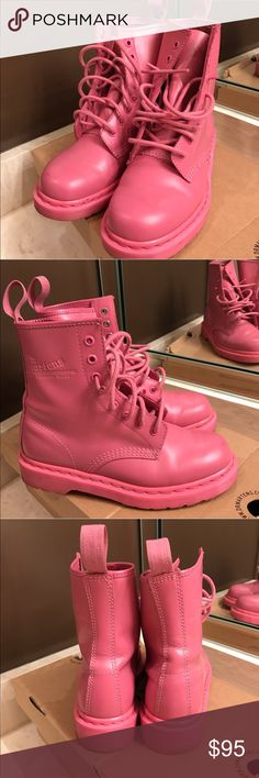 Dr. Martens AirWair Dr. Martens AirWair Pink Rose  Worn marks underneath  Worn material (shown in photos)  Still in very good condition Comes with original box (shown in photos)  Size 6 Dr. Martens Shoes Combat & Moto Boots